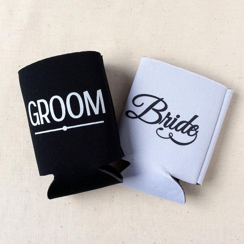 Tall Beer Can Cooler Sip Sip Hooray Beer Huggers Wedding Favor Custom Tall Boy 16oz Wedding Can Cooler #121 Bridal Wedding Favors