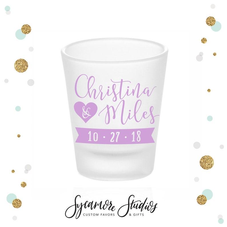 Custom Shot Glasses Wedding Heart Frosted Shot Glass #5 Wedding Shot Glasses Bridal Wedding Favors Wedding Favors