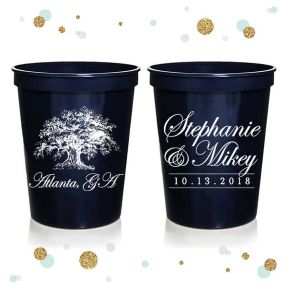 Wedding Cups Party Cups Oak Tree Custom Bridal Wedding Favors 16oz Frosted Unbreakable Plastic Cup #77