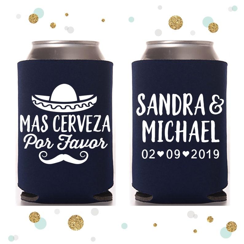 Beer Huggers Wedding Can Cooler #115 Wedding Favors Mas Cerveza Por Favor Personalized and Custom Beverage Insulators