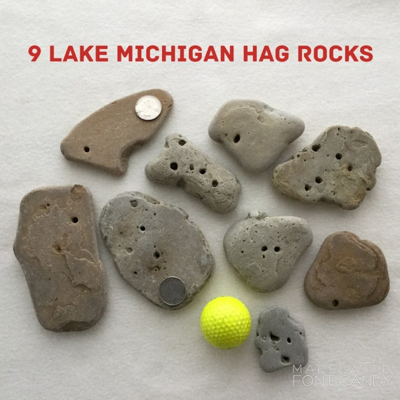 Set Of 9 Lake Michigan Hag Rocks Holey Stones Etsy Unique, natural stone cabochons for jewelry artists, jewelry bring the shores of beautiful lake michigan to your jewelry collection with this adorable petoskey stone in copper beaded sand w/mini colored rocks necklace! etsy