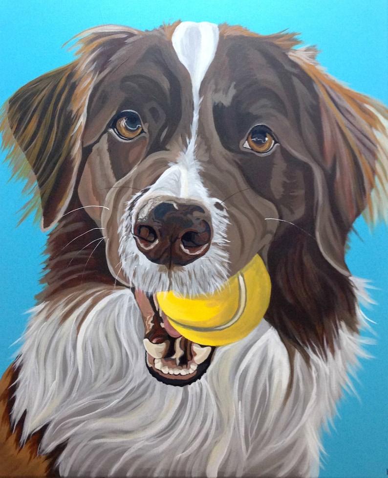 Memorial Pet Portrait Pet Portrait Pet Lover Gift Custom Dog Portrait Dog Painting Custom Hand Painted From Photograph Pet Painting