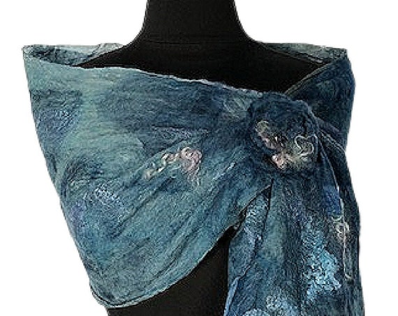 Denim Blue Felt Scarf, Blue Felted Wrap, Nuno felted scarf, Giftforher, Wedding/Bridal accessories, GracefulEweFiberArts, Blue Jean Baby