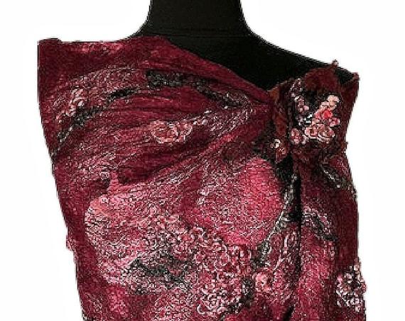 Maroon Felted Wrap, Silk Felted Scarf, Maroon felted shawl, Nuno Scarf, Giftforher, Rustic Wedding/Bridal Accessories, GracefulEweFiberArts