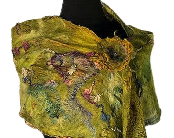 Chartreuse Felted Scarf,  Felted Wrap, Multi-colored scarf, Nuno felted scarf, Giftforher, Wedding/Bridal Accessories, GracefulEweFiberArts
