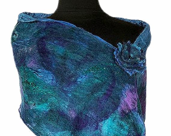 Purple Turquoise Felted Scarf, Felted Wrap, Felted Scarf, Ocean Blue Caribbean Wrap, Beach Wedding, Fashion Accessory, GracefulEweFiberArts