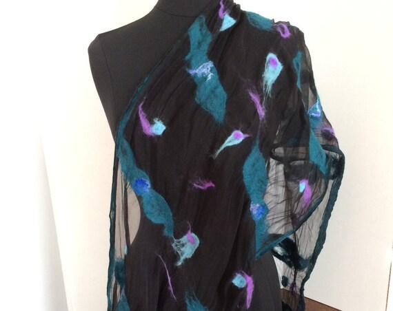 Felted Scarf, Silk Scarf, Felted Wrap, Women's Scarf, Black, blue, pink, Fashion Scarf, GiftForHer, GracefulEweFiberArts: Peace+Tranquility