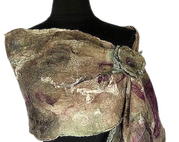 Earthtone felted scarf, Tan &  Green felted wrap, Nuno wrap, Bridal and Wedding accessories, GiftforHer, GracefulEweFiberArts: Down to Earth