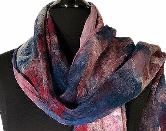 Red White Blue Felt Wrap, Fourth of July Scarf, Felted Scarf, Felted Wrap, Women's fashion accessories, Wearable Art, GracefulEweFiberArts