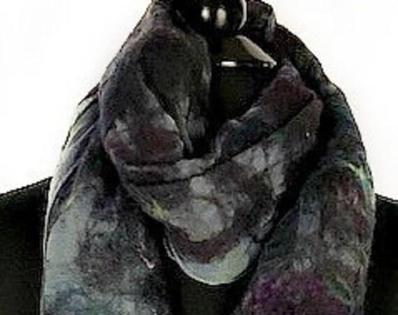 Purple Green Felted Scarf, Felted wrap, Deep Purples + Green wrap, FashionAccessories, GiftforHer, WeddingAccessories, GracefulEweFiberArts