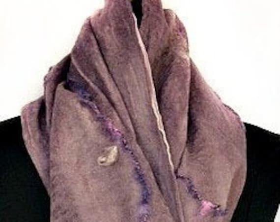 Lavender Felted Scarf, Nuno Felted Wrap, Nuno felt Scarf, Bridal/Wedding Accessories, Silk Scarf, Pale Purple Scarf, Graceful Ewe Fiber Arts
