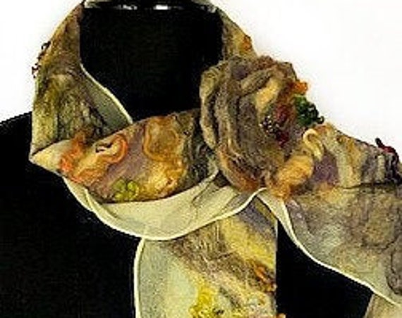 Pale Yellow Felted Scarf, Felted Wrap, Nuno Felted Scarf, Fashion Accessories, Wedding Accessories, GracefulEweFiberArts: Sunrise