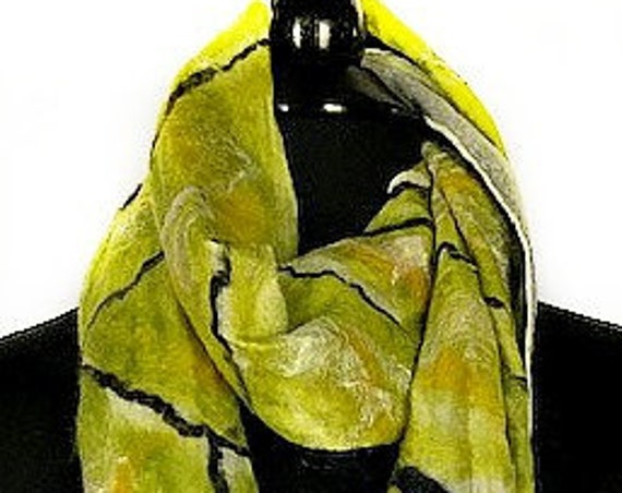 Chartreuse/Black Felted Scarf, Felted Wrap, GiftforHer, Fashion Accessories, Art to wear, Wedding Accessory, GracefulEweFiberArts, Butterfly