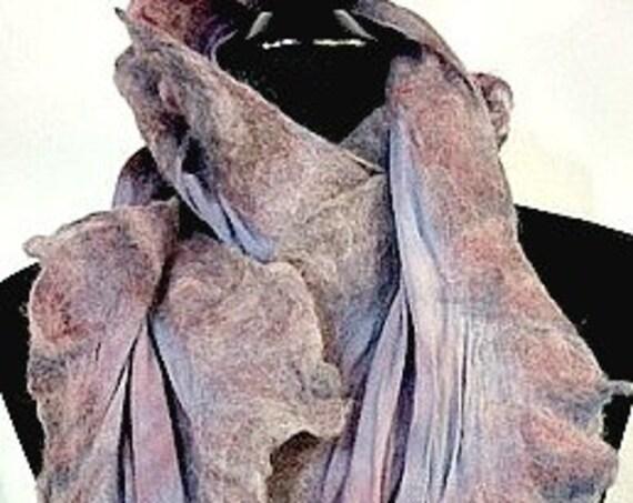 Felted Scarf, Silk Felted Wrap, Felted Shawl, Nuno Felted Wrap, Shades of Purple, GiftsforHer, Fashion Accessories, Graceful Ewe Fiber Arts