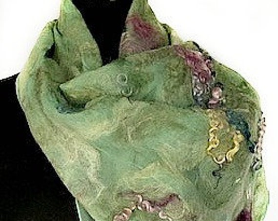 Pale Green felted scarf, Felted Silk Scarf, Nuno Felted Scarf, Lt Green, Beach Wedding Accessory, Graceful Ewe Fiber Arts, Garden of the Sea
