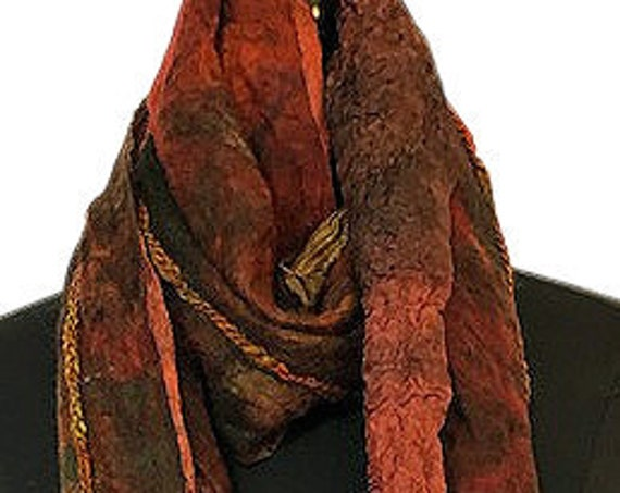 Bronze Felted Scarf, Brown Nuno Felted Wrap, Earthtone felted scarf, GiftForHer, Women's Accessories, Wedding, Bridal, GracefulEweFiberArts