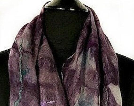 Purple Felted Scarf, Felted wrap, Deep Purples + Turquoise wrap, FashionAccessories, GiftforHer, WeddingAccessories, GracefulEweFiberArts