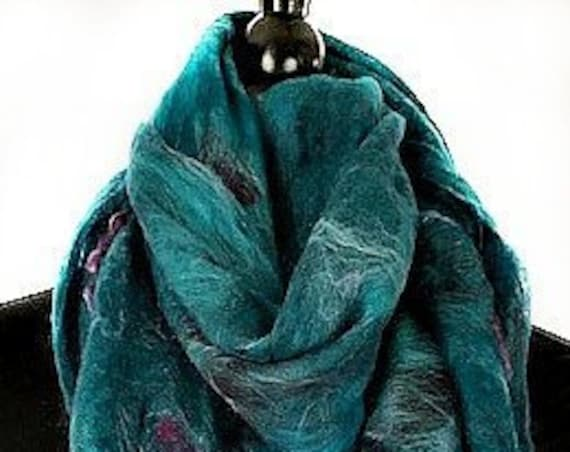 Turquoise Felt Wrap, Felted Scarf, Nuno Wrap, Turquoise + Purple Scarf, Wearable Art, Gift for Her, GracefulEweFiberArts: Caribbean Passion