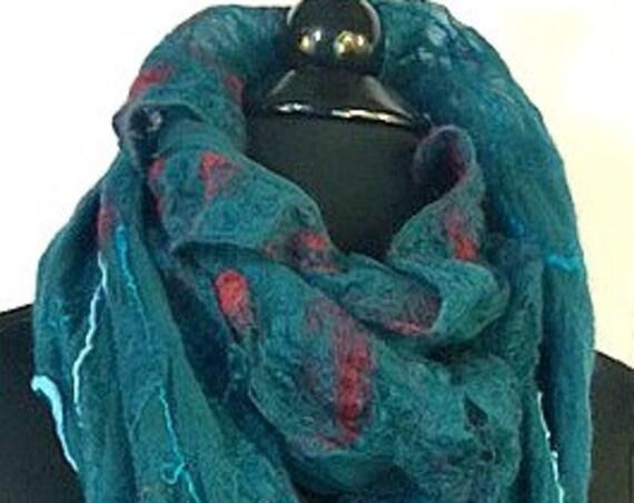 Felted Scarf, Silk Felted Wrap, Nuno Scarf, Fashion Accessories, Teal & Burgundy, Felted Wrap, Fall Fashion, Silk Shawl, Fall Accessories