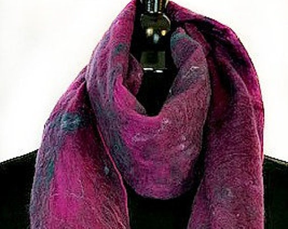 Purple Felted Wrap, Felted Scarf, Multi-colored Shawl, Nuno scarf, Fashion Scarf, Gift for her, Wedding Accessories, Graceful Ewe Fiber Arts