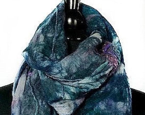 Blue Green Felted Scarf, Silk Felted Wrap, BlueGreenPurple Nuno Scarf, GiftsForHer, Wearable Art, Women's Accessories, GracefulEweFiberArts