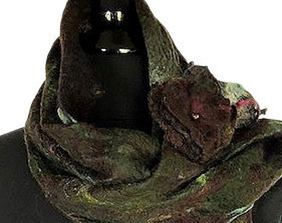Forest Green Brown Felted Scarf,  Felted Wrap/Shawl, Nuno scarf, Wearable Art, Giftforher, Wedding Accessories, Scarf, GracefulEweFiberArts
