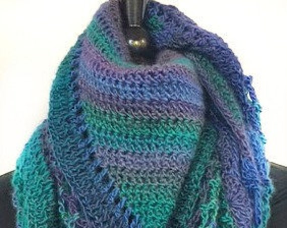 Crocheted/Wrap/Scarf/Shawl, Women's Accessories, Cruise Wear, Turquoise & Purple, GiftsforHer, Mother's Day, GracefulEweFiberArts, Peacock