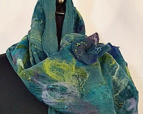 Felted Scarf, Silk Felted Scarf, Fashion Accessories, Art to Wear, Gift for Her, Wearable Art, Graceful Ewe Fiber Arts: Depths of Sea