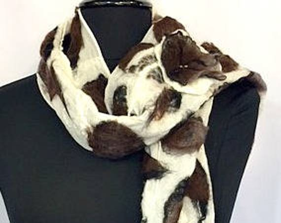 Giraffe Print, Felted Scarf, Nuno Felted Scarf, Gift for Animal Lover, Animal Print, Fashion Accessories, Silk Wrap, Graceful Ewe Fiber Arts