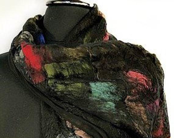Black Felted Scarf, Multi-colored Felted Silk Scarf, GiftForHer, Nuno felted Scarf, Felted Wrap, Graceful Ewe Fiber Arts: Festival of Color