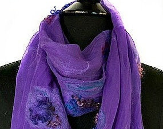 Purple Felted Wrap, Purple Felt Scarf, Nuno felted wrap, Amethyst colored scarf, Gifts for Her, Wedding Accessories, Graceful Ewe Fiber Arts