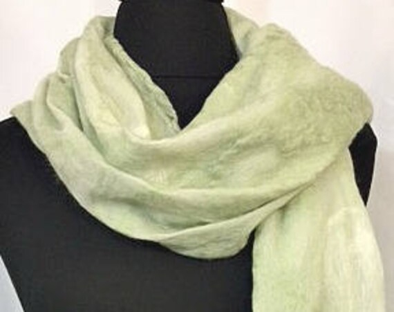 Pale Green Felted Scarf, Nuno Felted Wrap, Spring Scarf, Garden Wedding/Bridal Wrap, Pale Green Scarf, Long Scarf, Graceful Ewe Fiber Arts