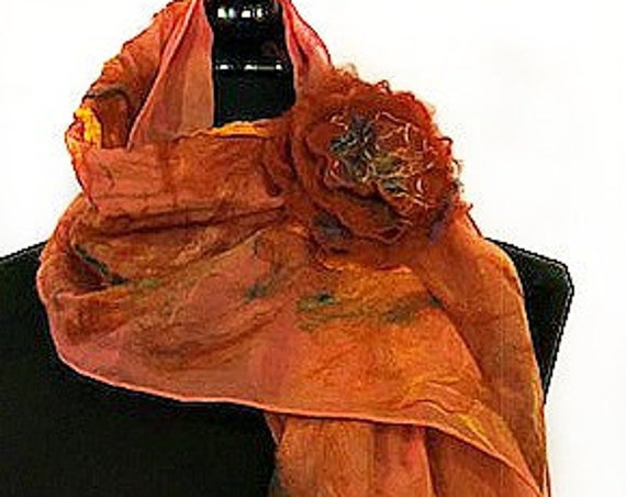 Orange Felted Scarf, Nuno Felted Wrap, Felted Shawl, Bridal and Wedding Accessories, Beach wedding, GracefulEweFiberArts: Caribbean Sunrise