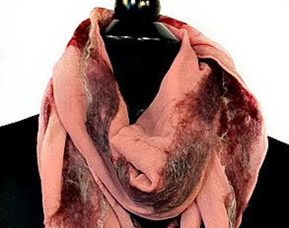 Rose Felted Scarf, Felt Wrap, Nuno Felted Scarf, Fashion Scarf, Graceful Ewe Fiber Arts, Women's Accessories, Gifts for Her: Depths of Rose