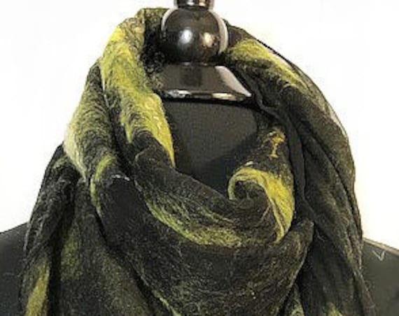 Chartreuse & Black Felted Scarf, Felted Wrap, Felted Shawl, Fashion Accessories, GiftForHer, Women's Accessories, Graceful Ewe Fiber Arts