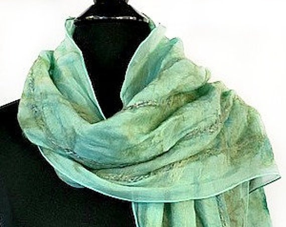 Aquamarine Felted Scarf, Nuno Felt Scarf, Nuno Wrap, Caribbean Green, Beach Bridal/Wedding Accessories, Garden Wedding, GracefulEweFiberArts