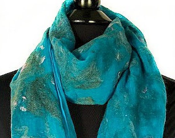 Turquoise Felted Wrap, Silk Felted Scarf, Turquoise + Pink Scarf, Nuno Felted Scarf, GiftForHer, Graceful Ewe Fiber Arts: Seaside Dreams