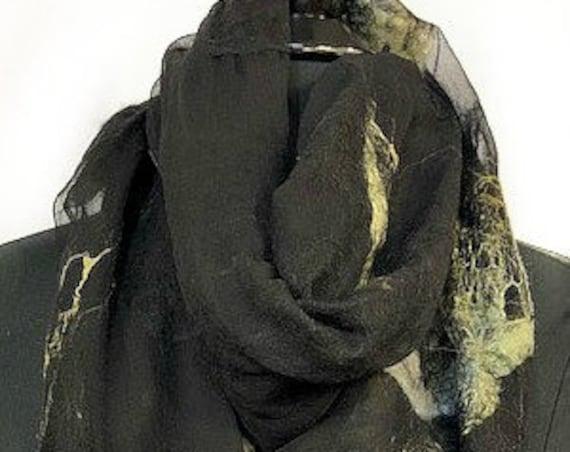 Black Felted Wrap, Silk Wrap, Felted Shawl, Nuno felt scarf, Yellow Green Felt Scarf, Giftforher, Wedding Accessories, GracefulEweFiberArts