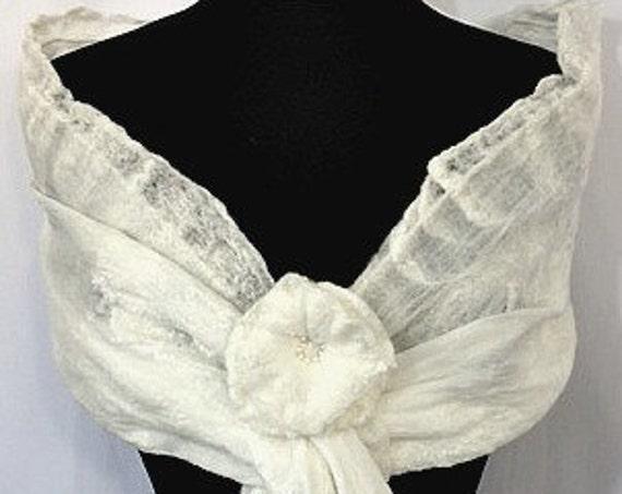 Felted Bridal Shawl, Silk Felted Bridal Wrap, Nuno Felted Wrap, Bridal Shawl/Scarf, Bridal Accessories, Beach Wedding, GracefulEweFiberArts