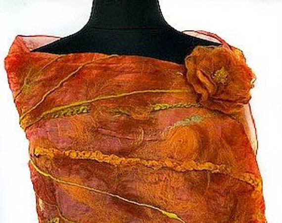 Burnt Orange Felted Scarf, Nuno Felted Wrap, Silk Felted Shawl, Bridal Wedding Accessories, Beach wedding, Cruise Wear, GracefulEweFiberArts