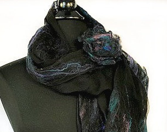 Turquoise and Black Felted Scarf, Silk Wrap, Felted Shawl, Nuno scarf, Fashion Scarf, Giftforher, Wedding Accessories, GracefulEweFiberArts