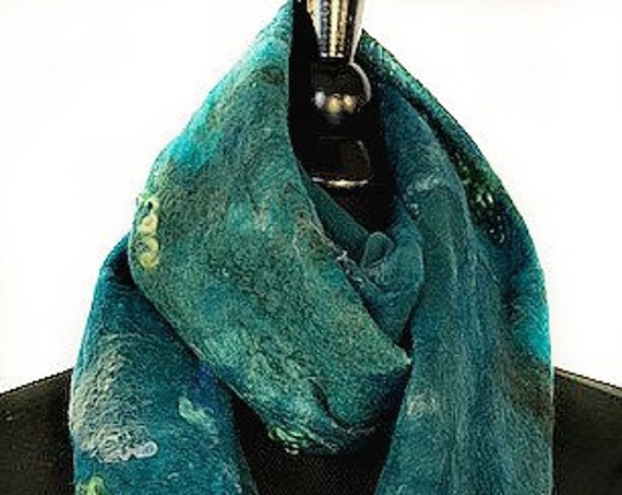Teal Felted Scarf, Felted Wrap, Nuno Scarf, Fashion Accessories, Wearable Art, Bridal/Wedding Accessories, Ocean Blue, GracefulEweFiberArts