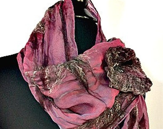 Felted Scarf, Silk Felted Scarf, Nuno Scarf, Fashion Accessories, Felted Wrap, Wedding Accessories, Silk Shawl, Wearable Art: Sweet Romance