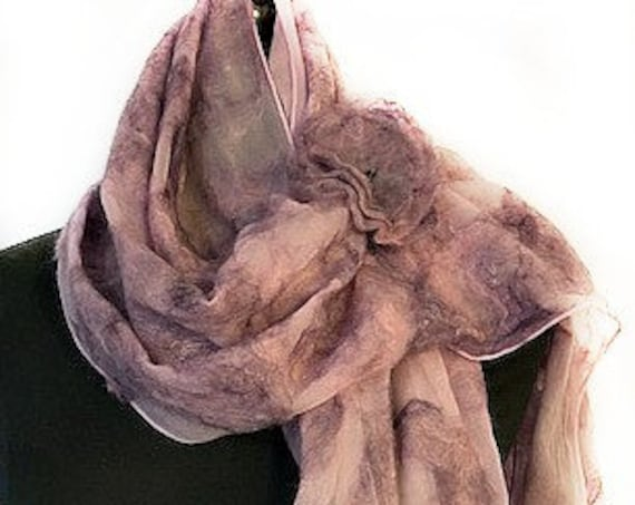 Rose Lavender Felted Scarf, Nuno Felt Scarf/Wrap/Shawl, Wedding Wrap, Bridal Accessories, Pink & Purple, GracefulEweFiberArts: Summer Garden