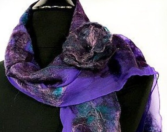 Purple Felted Scarf, Purple Felted Wrap, Purple Scarf, Nuno Felted Scarf, Women's Accessories, Fashion Accessories, Graceful Ewe FiberArts,