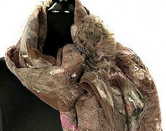 Brown and Rose Felted Wrap, Felted Scarf, Felted Silk Scarf, Nuno Felted Scarf, Wearable Art, Fashion Accessories, GracefulEweFiberArts