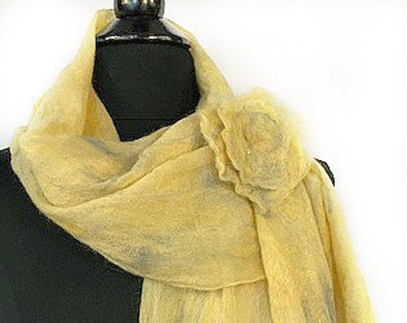 Felted Wrap, Felted Scarf, Nuno Wrap, Vintage-look Bridal Wrap, Wedding Accessories, Pale Yellow + Smoky Blue HiLts, GracefulEweFiberArts