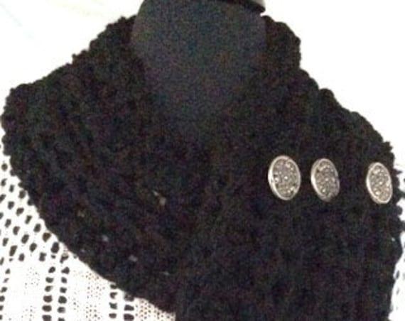 Crocheted Black Cowl Scarf, Infinity Scarf, Women's Cowl, Crocheted Cowl/Vest, Women's Accessories, Buttoned cowl, Chunky Sc...