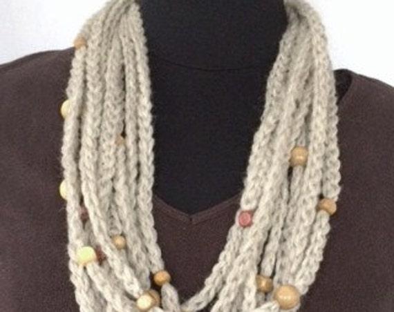 Beaded Infinity Scarf, Infinity Rope Scarf, Crocheted Women's Beaded Cowl, Beaded Cowl, Women's Accessories, Brown Beaded Rope N...