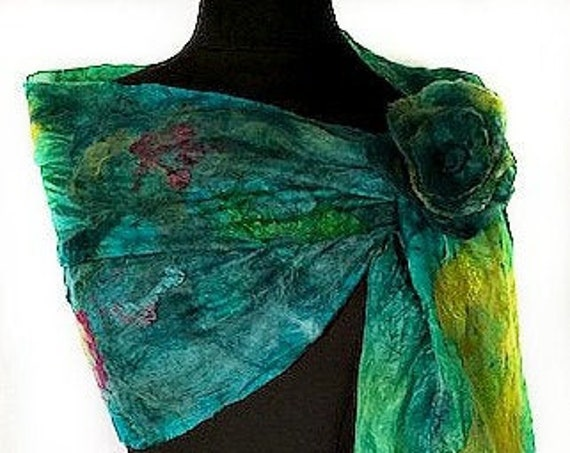 Teal Felted Wrap,  Felted Scarf, Nuno felted Wrap, Turquoise, Green, Purple, Wearable Art, GiftforHer, GracefulEweFiberArts: Peaceful Sea
